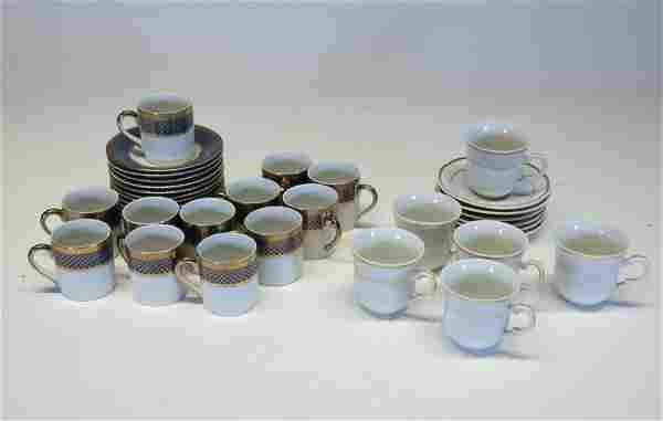 Two Sets of Porcelain Demitasse Cups & Saucers