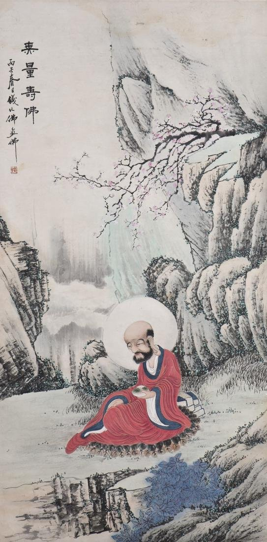 A CHINESE SCROLL PAINTING OF A BUDDHA