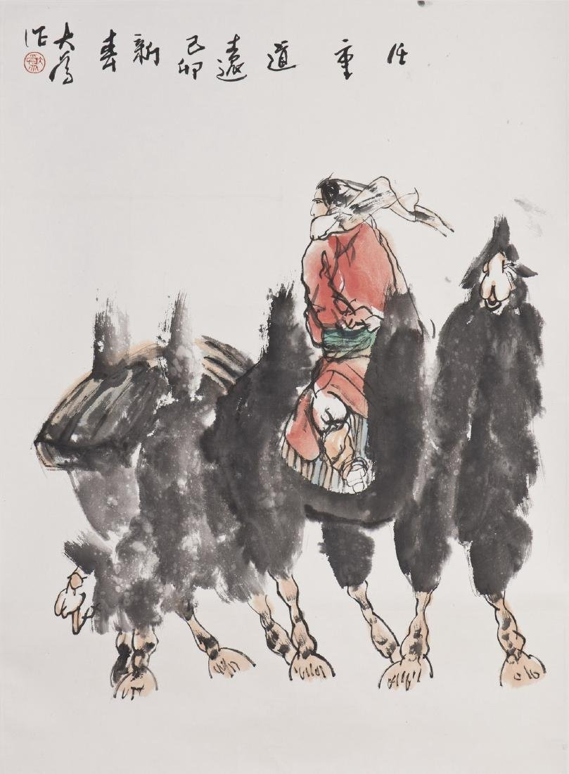 A CHINESE SCROLL PAINTING OF CAMELS