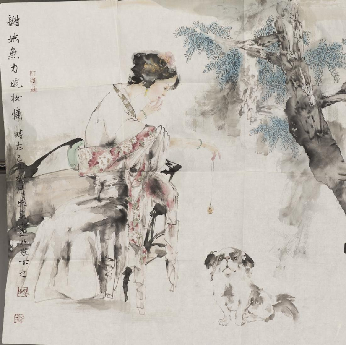 A CHINESE PAINTING OF CHINESE BEAUTY