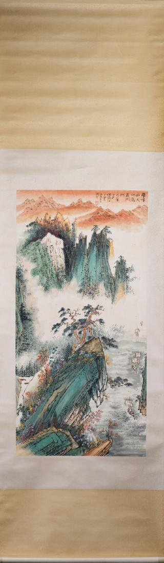 A CHINESE SCROLL PAINTING, AFTER HE YING