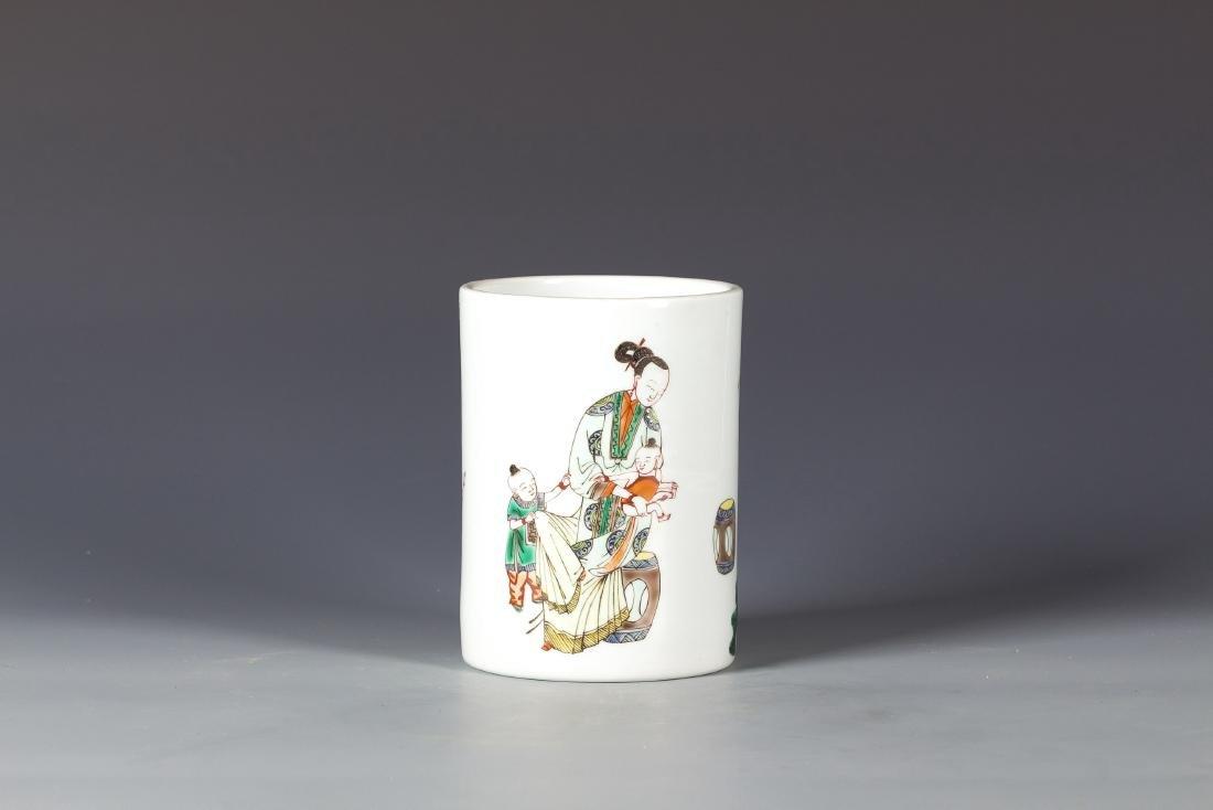 Famille Rose Chinese  Porcelain Brush pot
