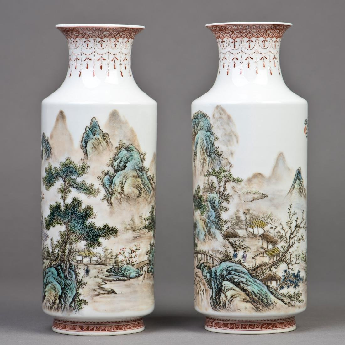 A CHINESE FAMILLE ROSE PORCELAIN ROULEAU VASE