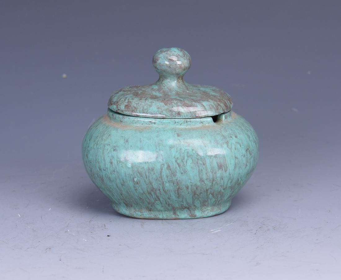 A CHINESE FURNACE JUN CERAMIC WARE WITH LID