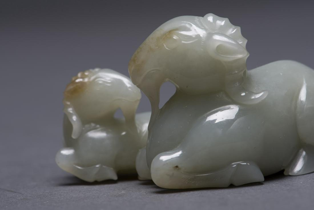 CARVED JADE GOAT MOTHER AND SON