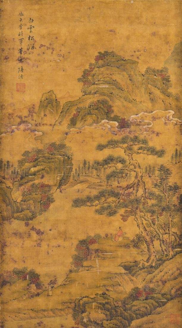 A CHINESE PAINTING WITH FRAME, AFTER LU ZHI