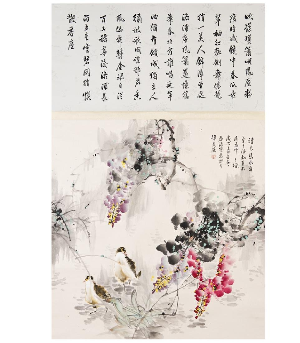 A CHINESE SCROLL PAINTING OF FLOWER AND BIRDS