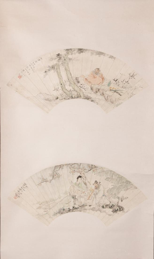A PAIR OF CHINESE FAN PAINTING