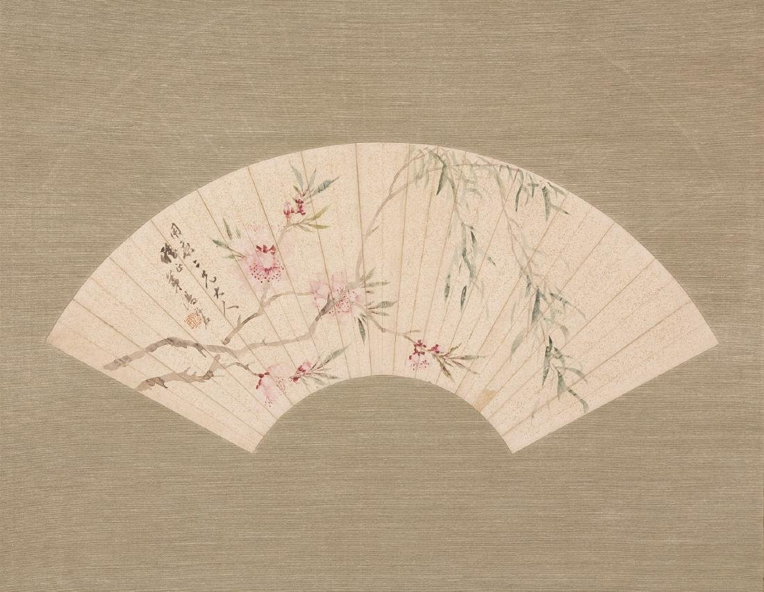 CHINESE FAN PAINTING BY LU MING, PROVENANCE FROM