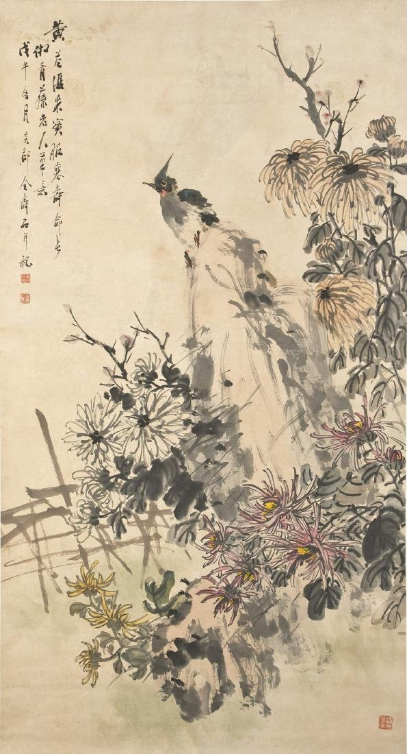 CHINESE SCROLL PAINTING BY JIN SHOUSHI, PROVENANCE FROM