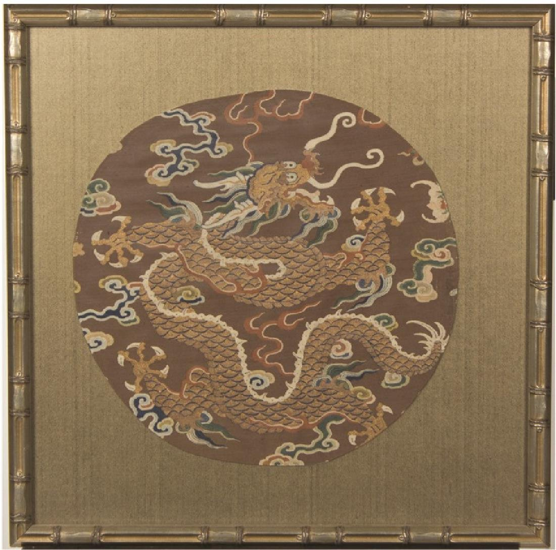 A FRAMED DRAGON EMBROIDERY