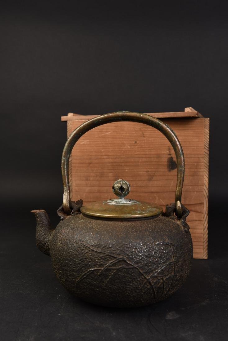 A JAPANESE TETSUBIN CAST IRON TEA POT