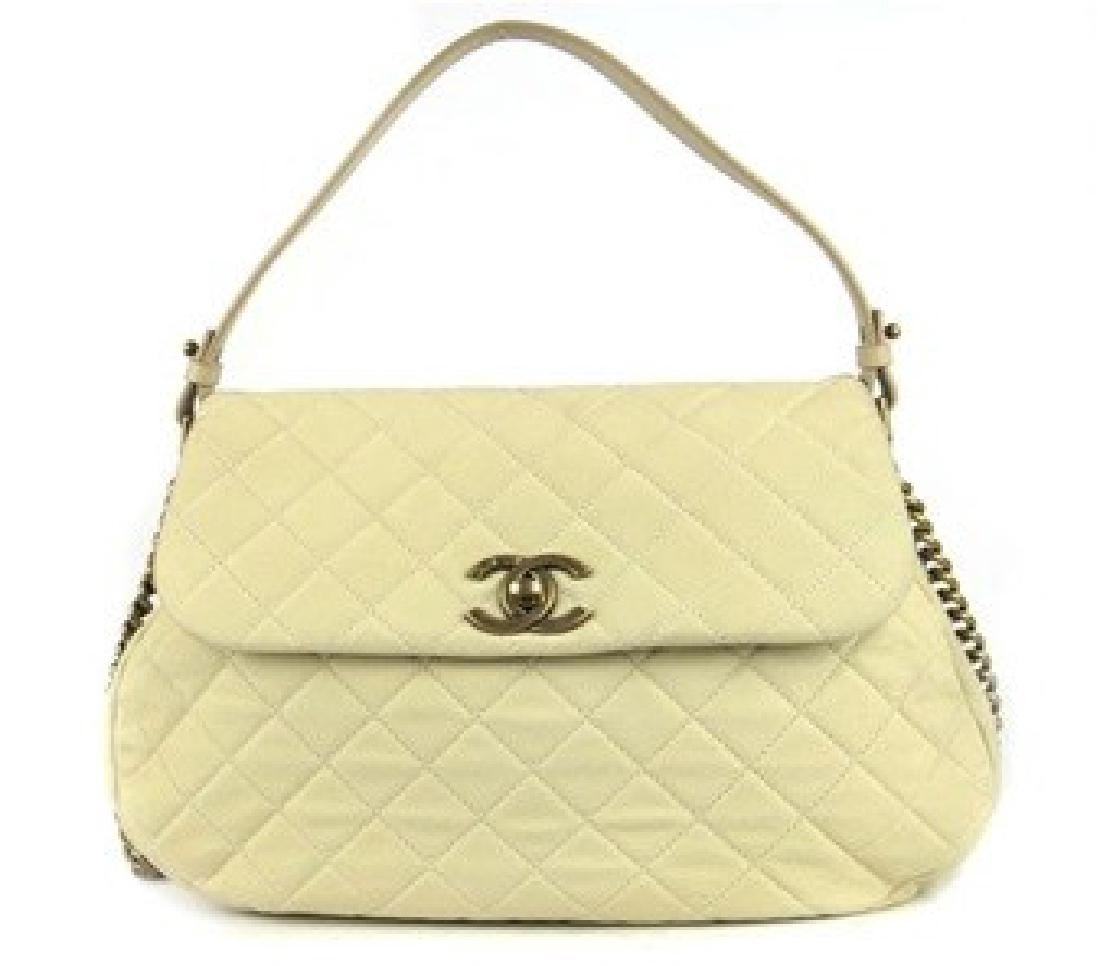 Chanel Cream Caviier Shoulder Bag