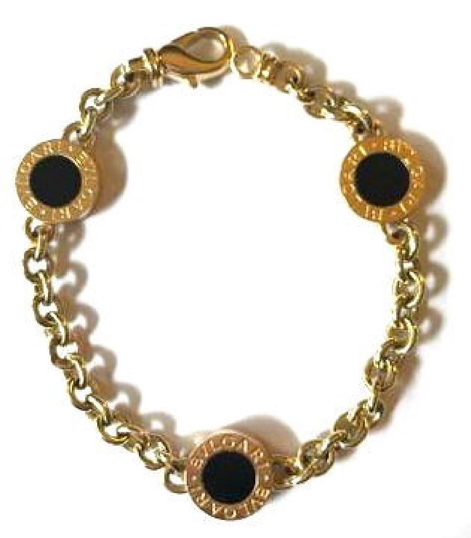 bulgari bvlgari 18k yellow gold black onyx chain