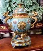 Large Chinese Gold Leaf Cloisonne Incense Burne