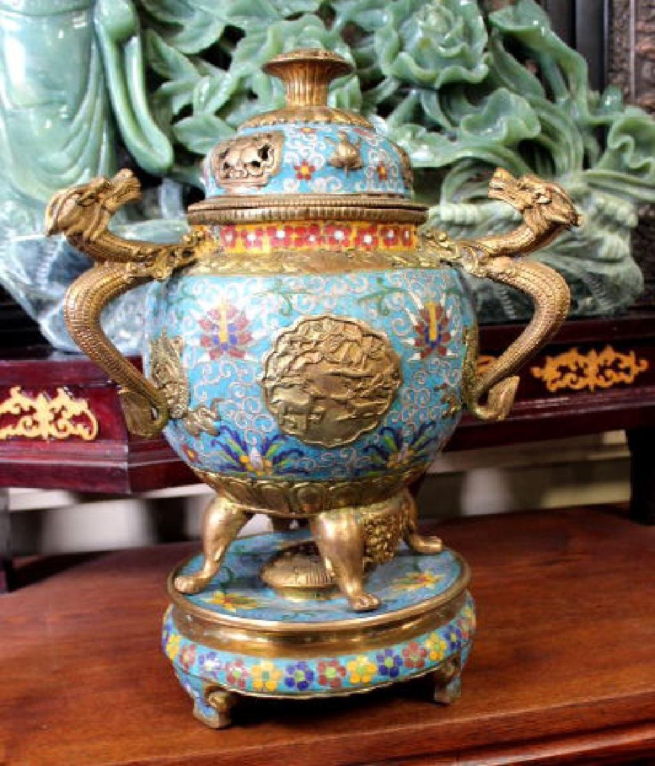 Large Chinese Gold Leaf Cloisonne Incense Burne