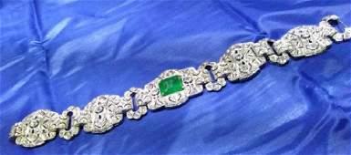 3 Certified Platinum Art Deco Emerald & Diamond