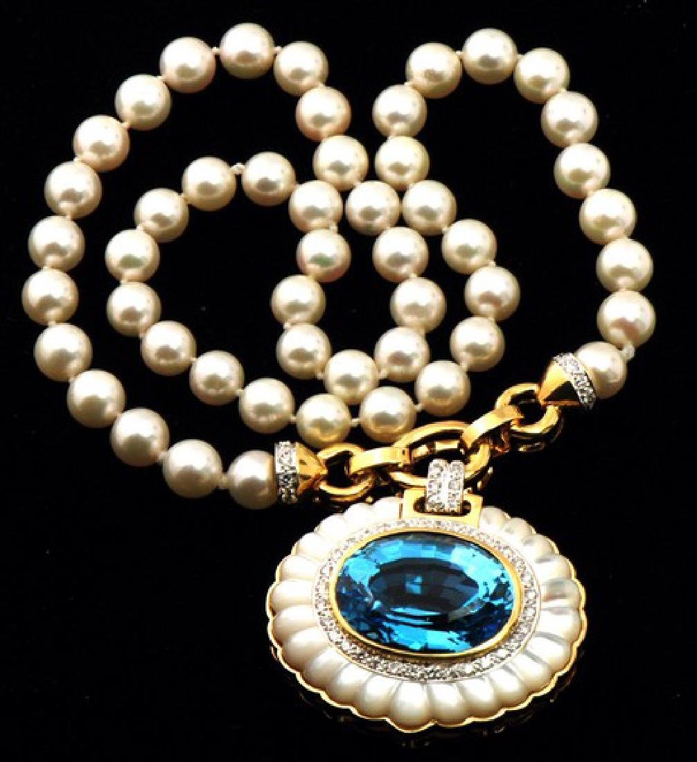 Beautiful Pearl & Blue Topaz 14K Gold Necklace 40mm,