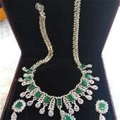 Breathtaking Emerald & Precious Gem Necklace & Earring