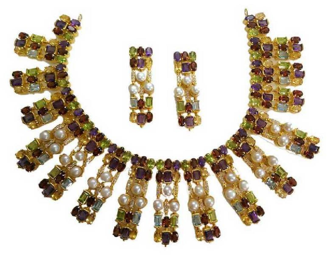 Multi Color Semi Precious Stone Necklace Set