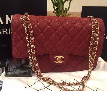 Chanel Raspberry Red Bag w. Yellow Gold Hardware