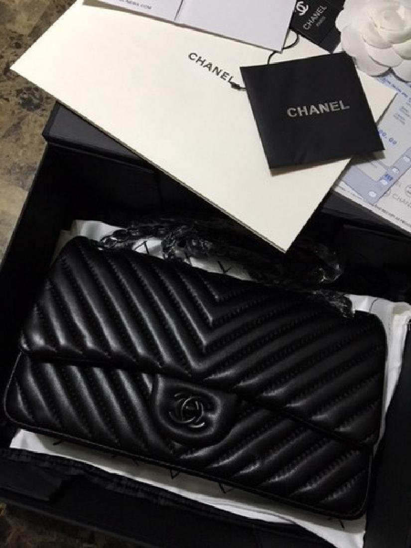 Chanel Chevron Purse in Black on Black