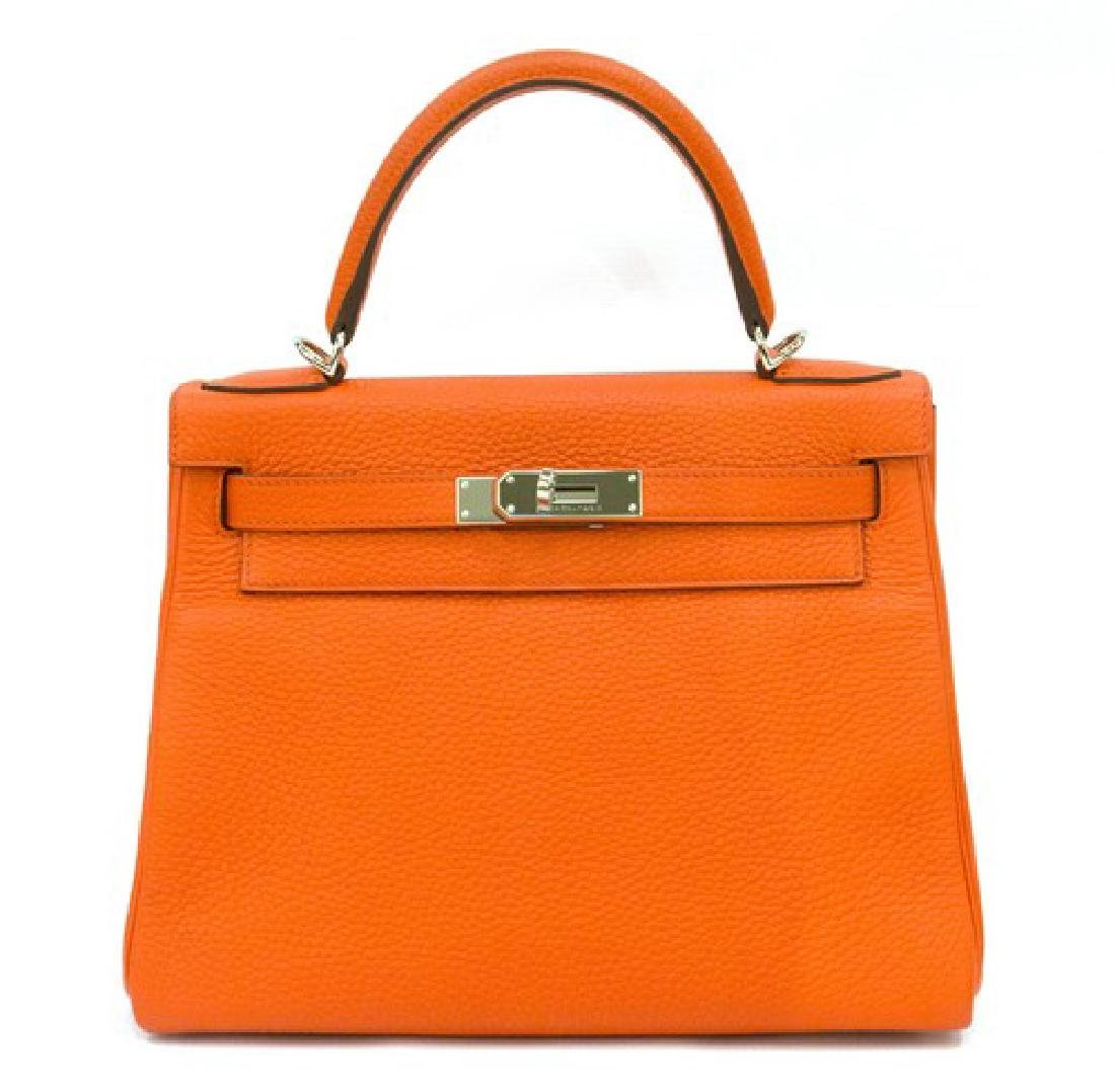 HERMÈS CLEMENCE KELLY 28 RETOURNE in Orange