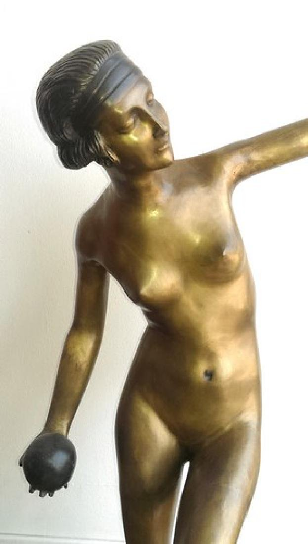 "Antique Art Deco Bronze Sculpture 32"", 50-lbs"