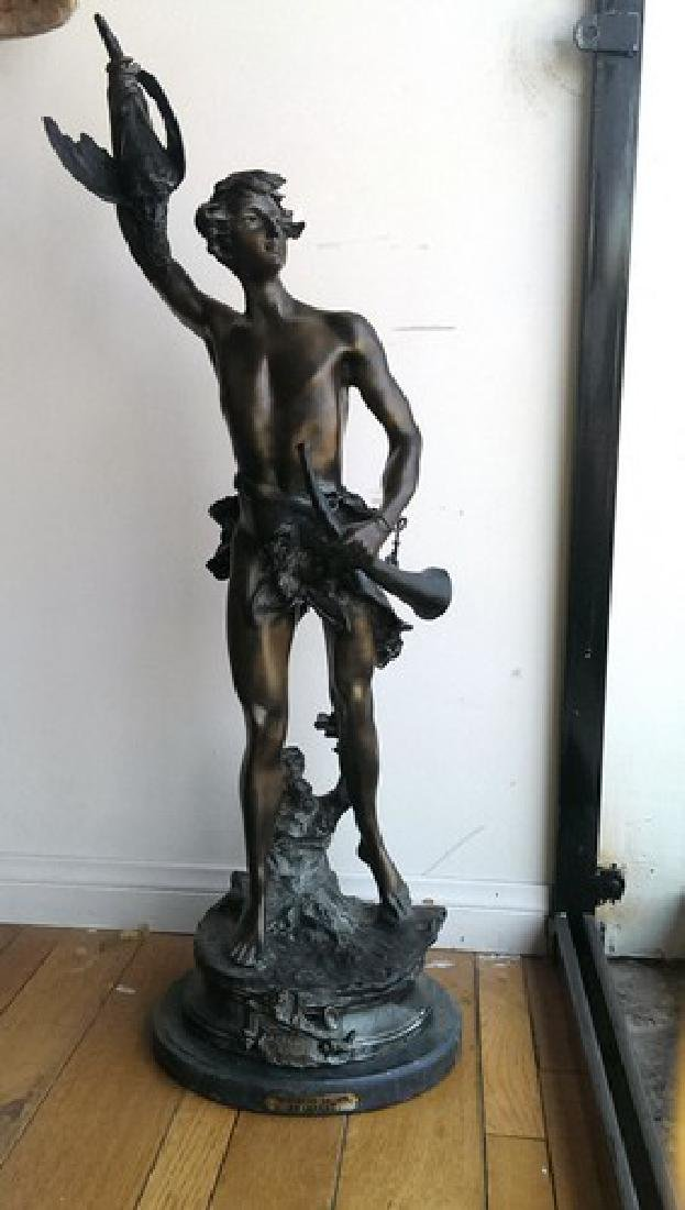 "XLG Antique French Bronze ""Victorious Archer"" Signed"