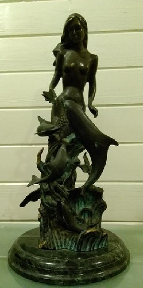 "24"" Vintage Signed Bronze Mermaid w. Dolphins Sculpture"