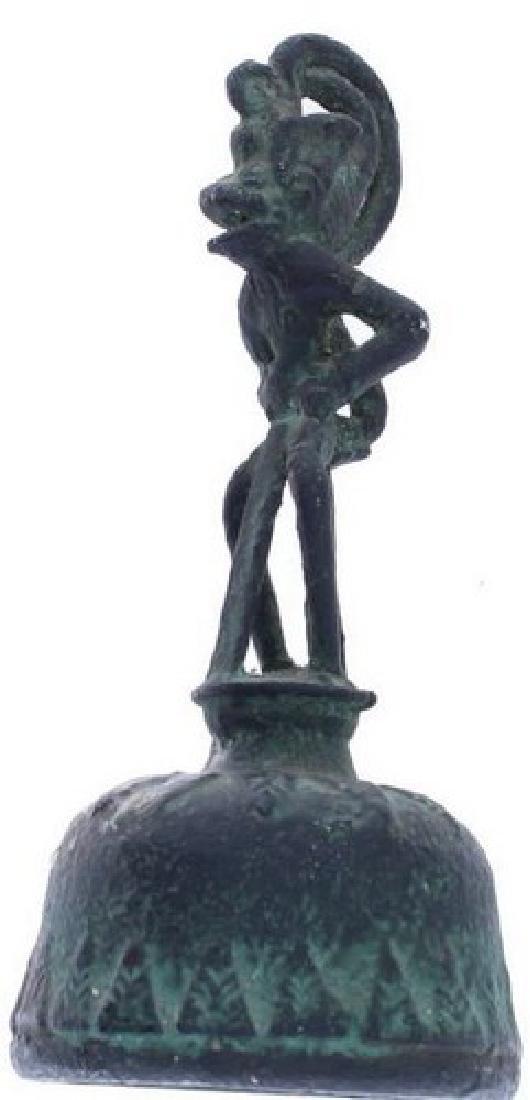 African Benin Bronze Bell   ANTIQUE AFRICAN BENIN KING