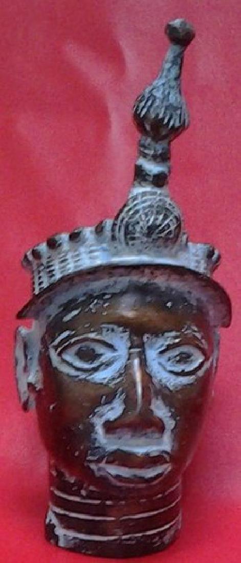 African Bronze Benin Head Sculpture