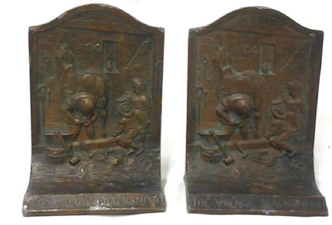 Antique American Bronze Book Ends