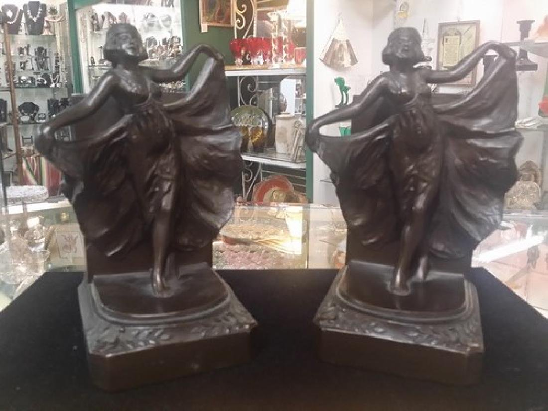 Antique Art Deco Bronze Bookends (Bronze Clad)