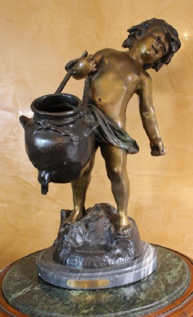 "Antique Bronze by Auguste Moreau ""Water Boy"""