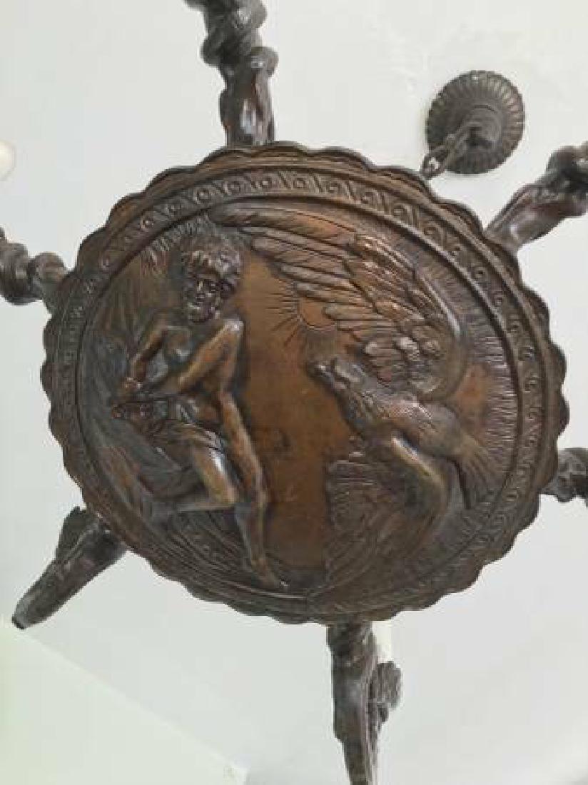 Antique Bronze Chandelier w. Prometheus Scene