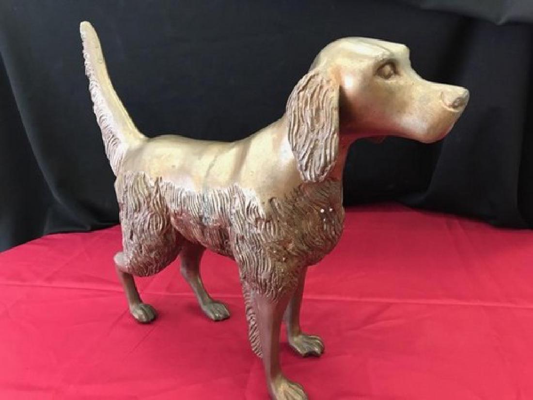 Antique Bronze Sculpture of Spaniel Dog 18'