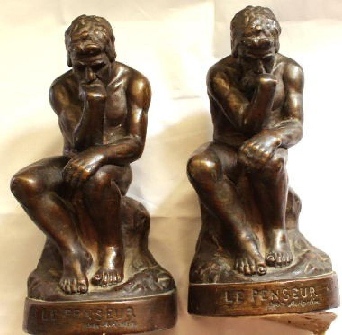 "Antique c1914 French Bronze by Rodin ""Thinking Man"""