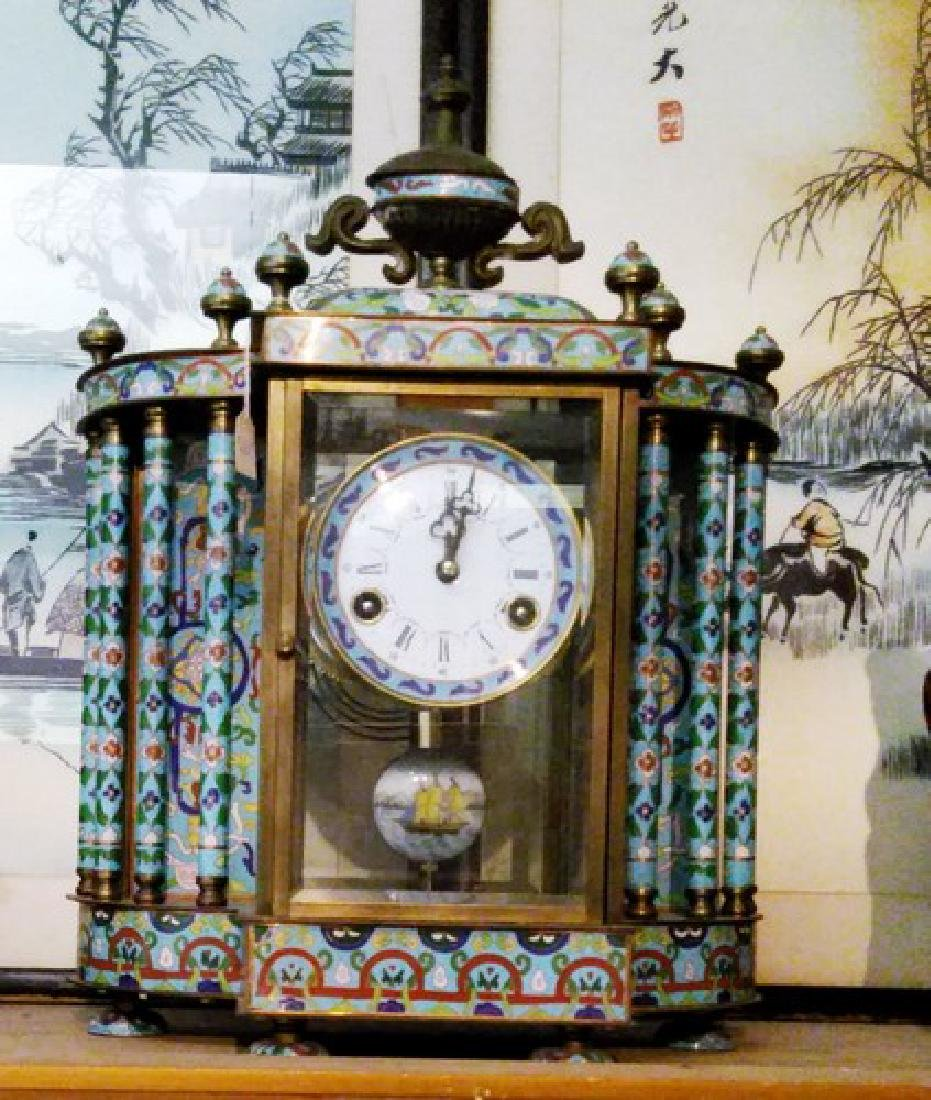 Antique Champleve Bronze & Enamel Mantel Clock