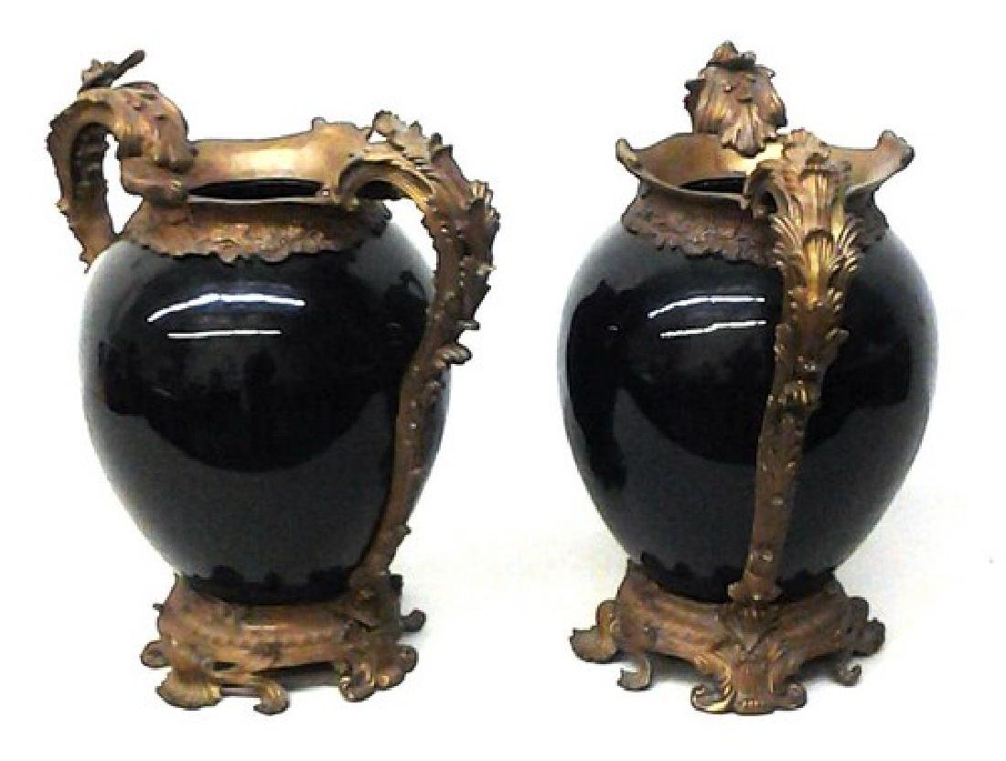 "Antique French Bronze & Chinese Porcelain Vases 18"" Ea,"