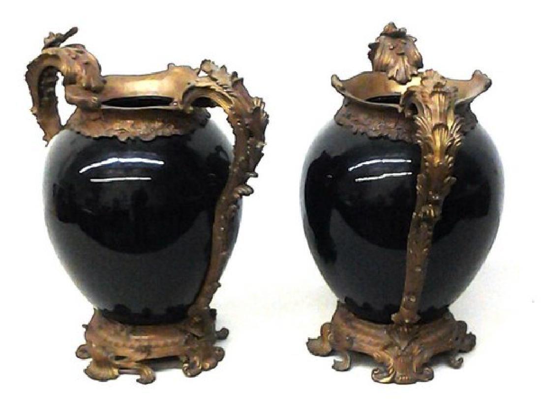 "Antique French Bronze & Chinese Porcelain Vases 18"" Ea,"