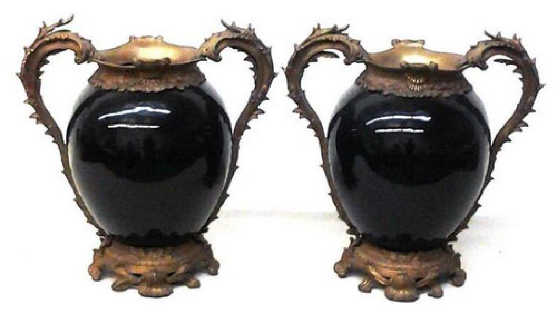 "Antique French Bronze & Chinese Porcelain Vases 18"" Ea, - 3"