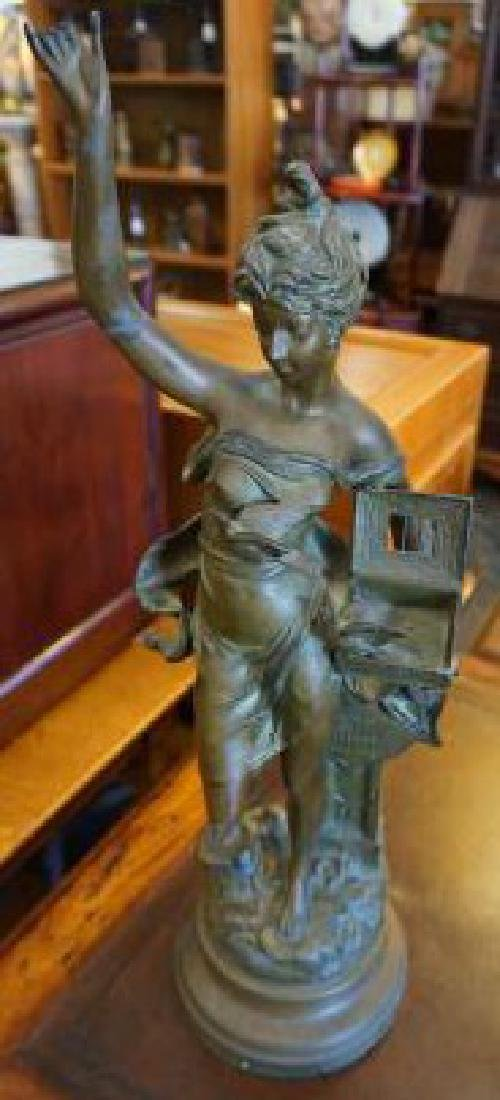 Antique French Bronze Statue (girl with pigeons) 22""