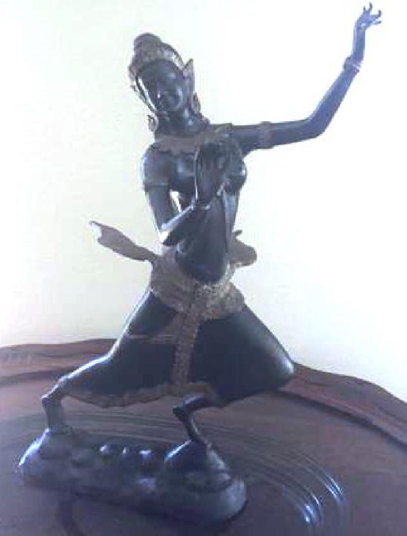 "Antique Gilt Bronze Thai Dancer w. Wings 16x12"""