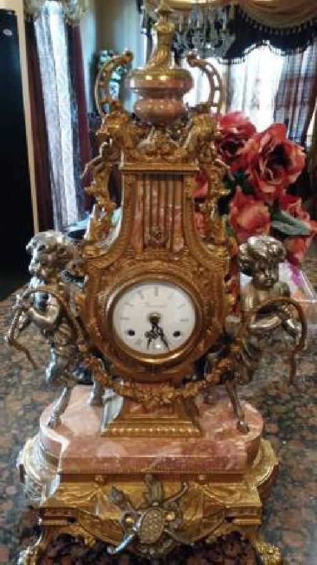 "Antique Italian Gilt Bronze Clock on Marble Base 24"""