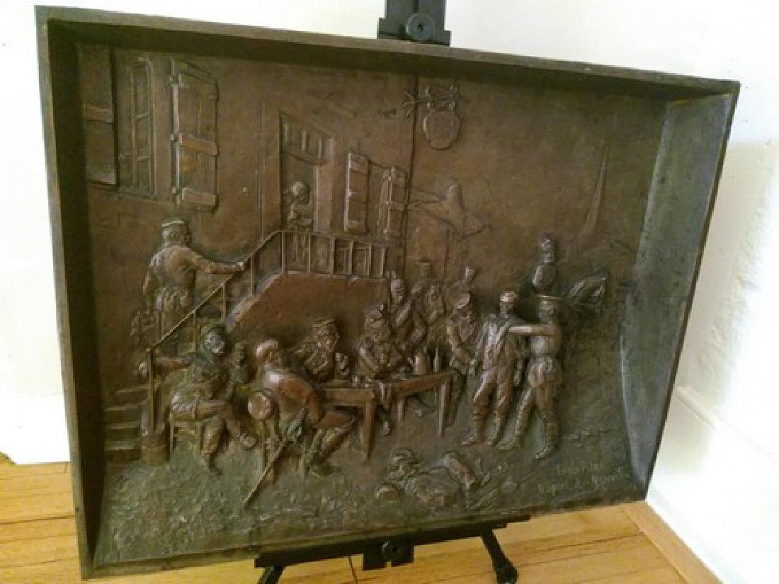 "Antique Large Bronze Plaque in Bas Relief 25x20"" 25-lbs"