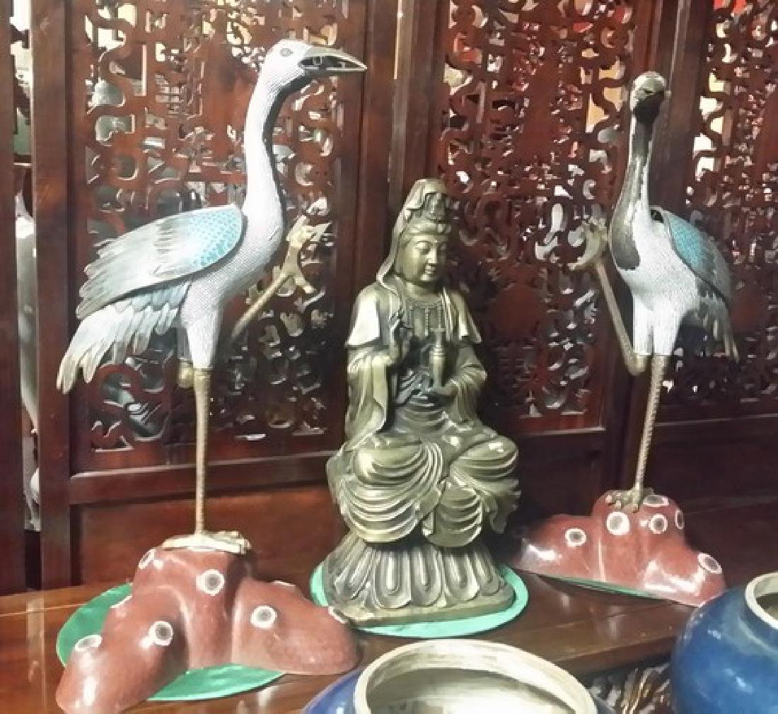 Fine Tall Old Chinese Bronze Cloisonne Egrid Sculptures