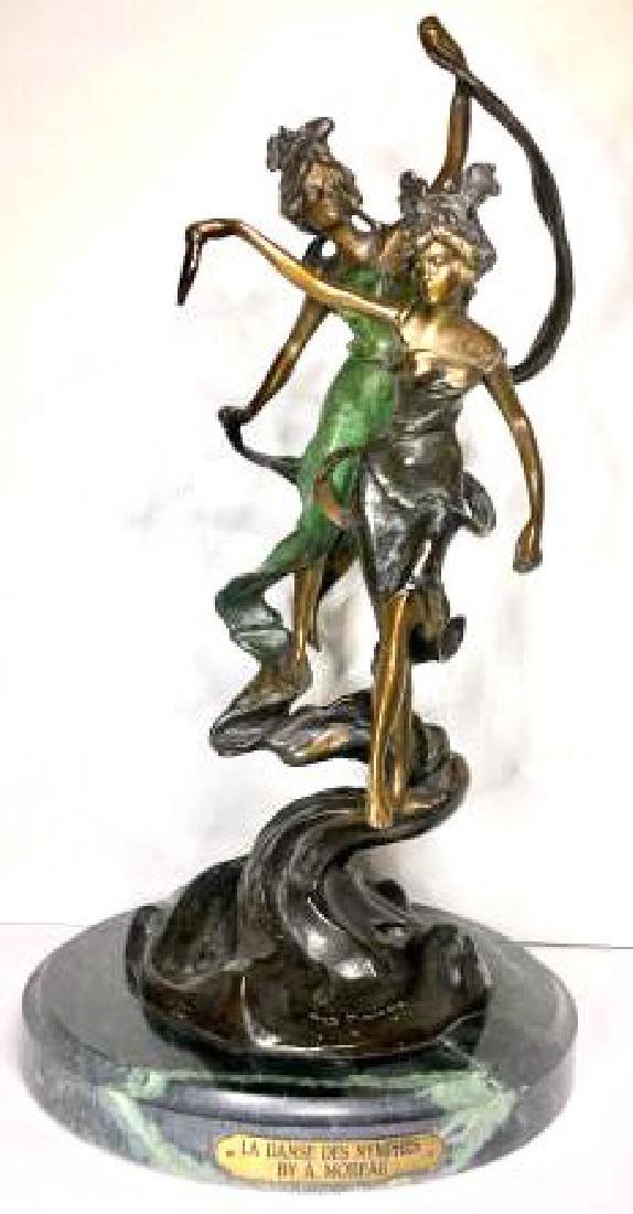 """French Antique Moreau Gilt Bronze Statue """"La Danes Des"""