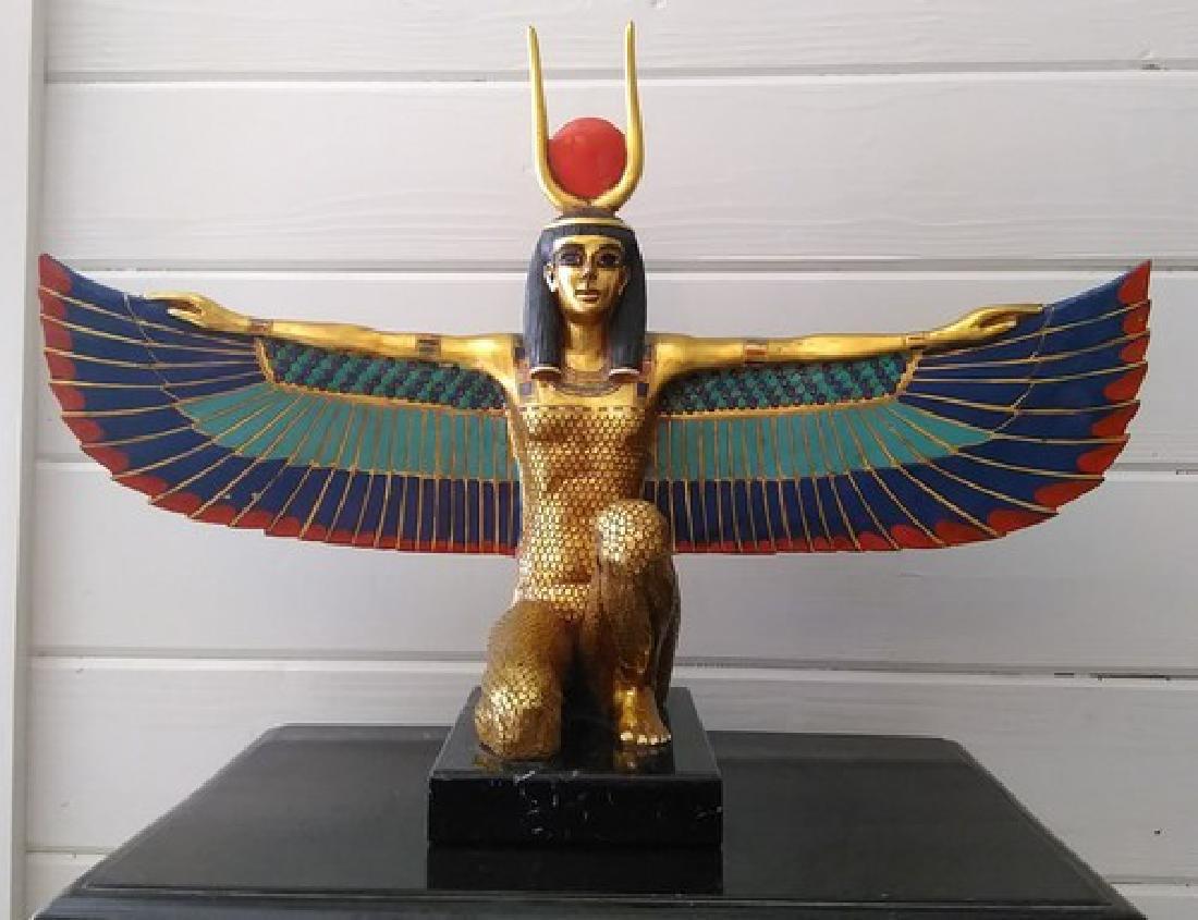 """24"""" Vintage Fine 24K Gold Leaf Egyptian Isis Sculpture"""