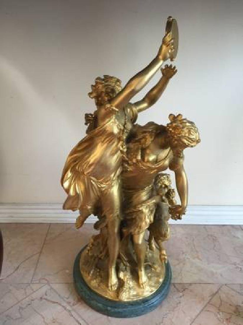 """Gilted French Bronze By Clodion """"2 Nymphs & a Satyr"""""""